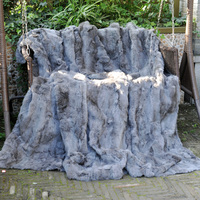 CX D 56 Hot Selling Rabbit Fur Rugs Good Quality Fur throw blanket DROP SHIPPING