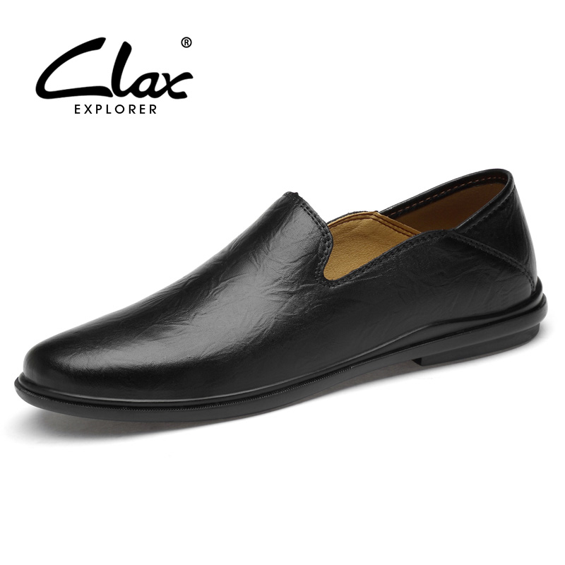 CLAX Mans Leather Shoes Slipons Summer Male Moccasins Genuine Leather Men's Loafers Boat Shoe Soft Big Size