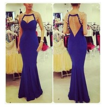 2016 Vintage Meerjungfrau Scoop Taste Prom Kleid mit Kristall bodenlangen Royal Blue Chiffon Abendkleid Vestido De Noche