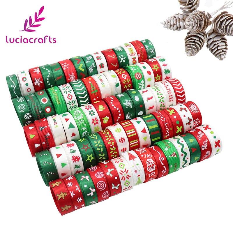 """לוסיה מלאכות 12 מטרים 3/8 """"10 מ""""מ לבן, ירוק, אדום אקראי 12 סגנונות הדפסת מבהיקי סאטן סרטי חג מולד קישוט 040048007"""