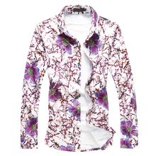 MarKyi 2019 Fashion Long Sleeve Flower Printed Shirts For Men Casual Designer Plus Size 7XL Floral Social