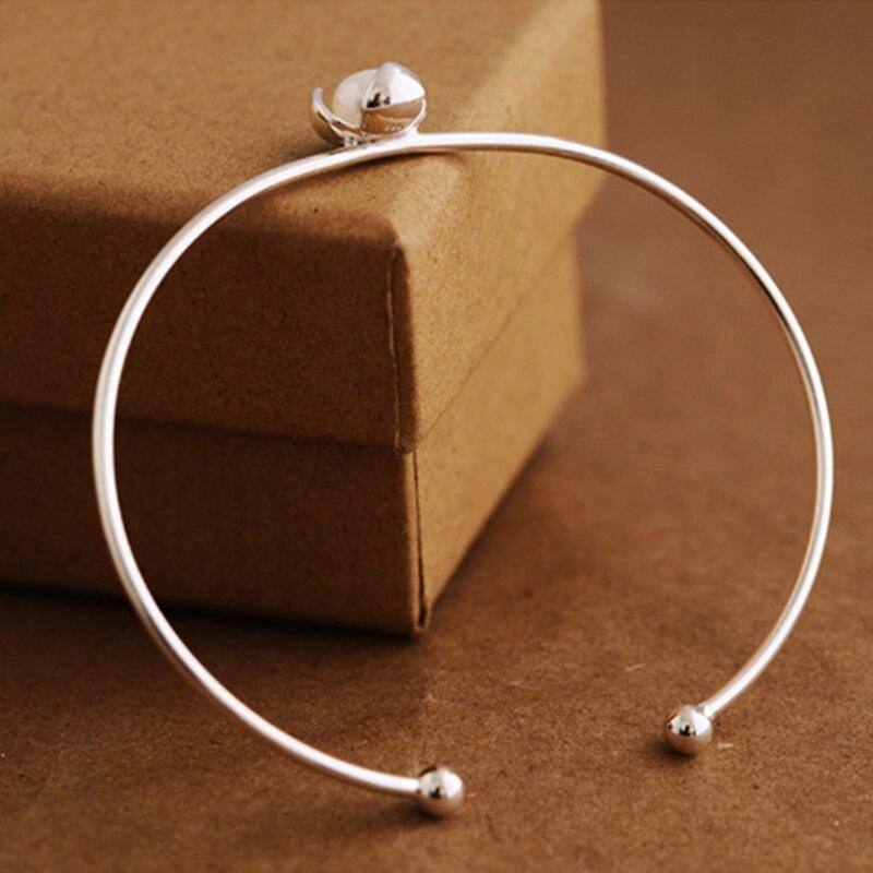 Genuine 100% 925 Sterling Silver Flower Pearl Bracelets for Women Simple Bracelets Natural Freshwater Pearl Bracelet Jewelry