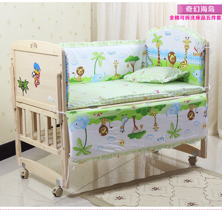 Promotion! 6PCS Duvet Baby bedding set cartoon crib set 100% cotton bumper suit bedclothes (3bumper+matress+pillow+duvet)