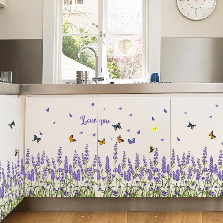 Wall Stickers Creative Lavender Butterfly Home Decoration Tiling Line Stickers Waist Stickers Background Decorative Mural