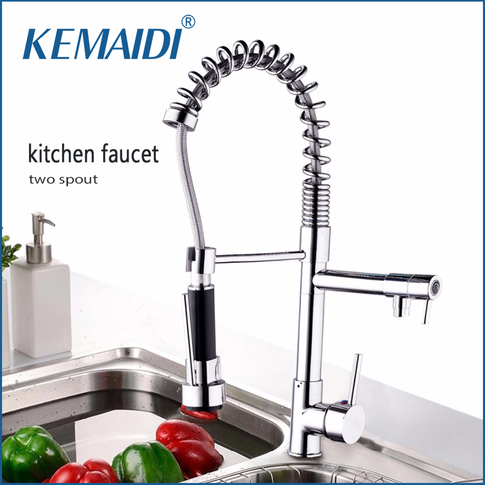 KEMAIDI Two Spout Hot & Cold Mixer 360 Swivel Kitchen Basin Sink Faucet Pull Out Spout Deck Mounted Vessel Sink Mixer Basign Tap au 360 swivel spout chrome brass taps deck mounted vessel sink mixer tap kitchen basin sink faucet hot