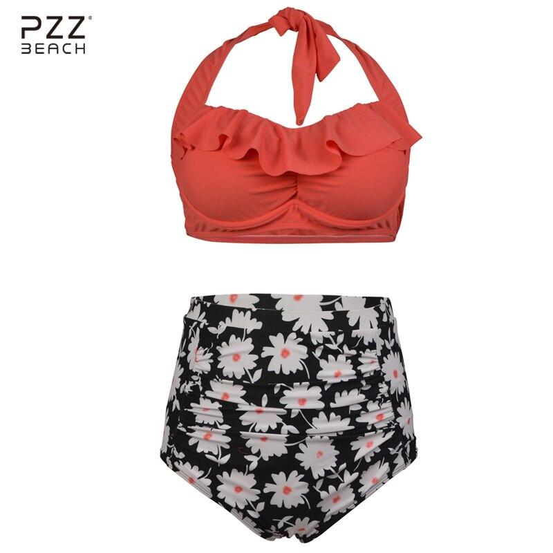 Plus Size Swimwear Women Bikini High Waist Swimsuit Sexy Bathing Suits Floral Print Bikini Set Monokini