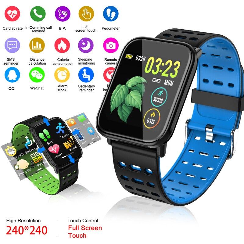 LIGE 2019 New Sport Bracelet LED Full Screen Touch Blood Pressure Heart Rate Activity Tracker Smart Watch Mens Women+Box