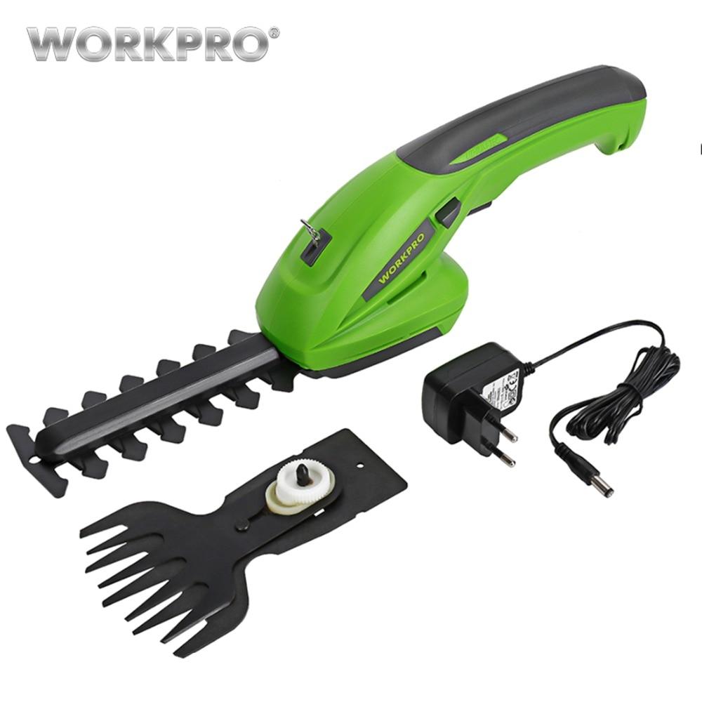 Workpro 7.2 v aparador elétrico 2 em 1 ferramentas de jardim sem fio de lítio-íon aparador de sebes recarregável para grama