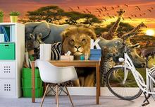 Custom 3d wallpaper for walls 3 d wall murals mural Sun elephants zebra lions giraffes children background decor