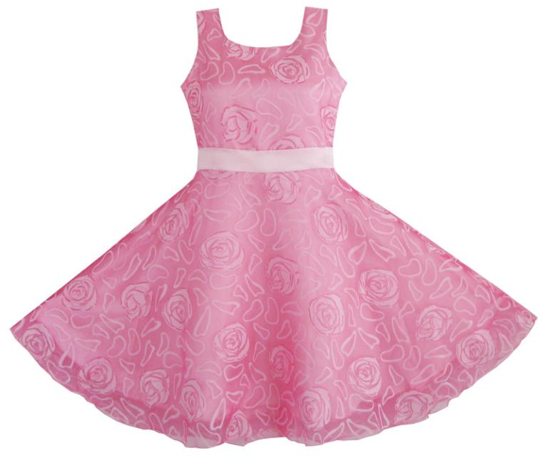 Sunny fashion flower girl dress pink rose wedding pageant for Boutique wedding guest dresses
