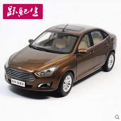 2015 New Ford Escort 1:18 Original high-quality alloy car model  TOY car Christmas gift boy collection brown