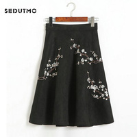 SEDUTMO Winter Suede Skirts Women Pleated High Waist Midi Tutu Skirt Embroidery Warm Black Vintage Ball Gown Skirt ED061