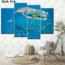 Canvas Painting Amazing sharks and small fish 4 Pieces Wall Art Modular Wallpapers Poster Print living room Home Decor