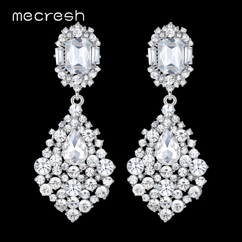 Mecresh Teardrop Crystal Wedding Long Drop Earrings for Women Silver Color Hanging Earrings 2018 New Engagement Jewelry EH196 teardrop decorated hook drop earrings