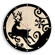 Home Christmas Elk Creative Wall Clock European Style Living Room Black White Wooden hangings