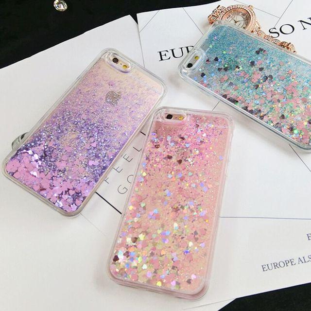 Glitter Love Heart Stars Liquid Quicksand Soft Phone Back Cover