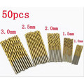 50PCS 1/1.5/2/2.5/3mm Titanium Coated HSS High Speed Steel Drill Bit Set Titanium For Wood Plastic Twist Drill Bit Set Tools