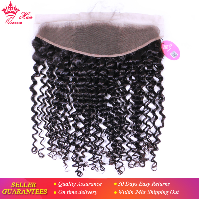 Queen Hair Products Deep Curly wave Brazilian Virgin Human Hair Lace Frontal Closure 13 x4 ear