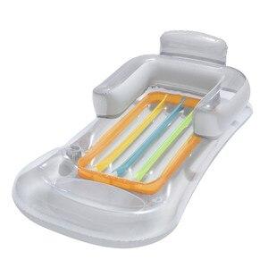 Image 5 - Yaz yüzme şişme yüzen yatak havuz şezlong su yüzen satır arkalığı Recliner kol dayama ile bardak tutucu yetişkin için