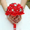 10 Цветов Красный Невесты Свадебные Цветы Атласная Королевский Синий Свадебные Букеты Букет Кристалл Букет Невесты Букет Buque Де Noiva 2017