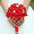10 Colores Ramo de Novia Ramo de Novia Ramo de Flores de Satén de la Boda de Cristal Rojo Royal Blue Wedding Bouquets Buque De Noiva 2017