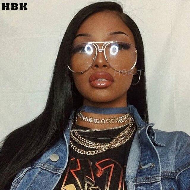 a8cdd64a66d HBK Unique Vintage eyeglasses transparent glasses Women Rimless Glasses  Oversized Clear Shades lunettes Sunglasses Female Pink