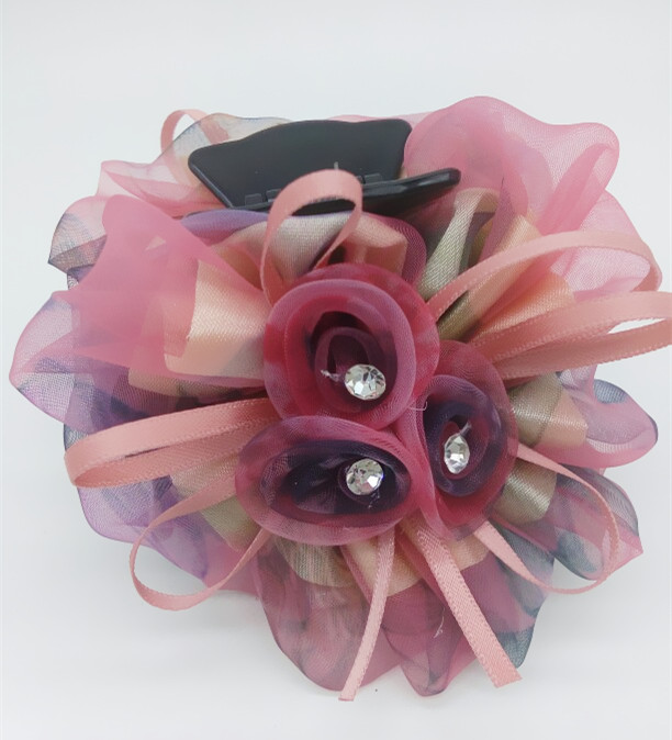 Beautiful Cloth Rose Flower crab claw clip Barrette Hair Claws Clamps Flower Headwear For Women Girl Hair Accessories Hairpins women headwear gift rhinestone hair claw butterfly flower hair clip 5 5cm long middle size bow hair accessories for girls