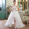 sexy vintage wedding dresses short front long back organza plus size Princess With Long Tulle Detachable Train Robe De Mariage