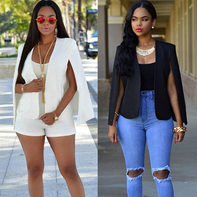 553c5571e866a Black White Split Women's Blazer Long Sleeve Lapel Cape Blazer Coat Casual  Split Poncho OL Jacket Cloak Coat Women Blazer Suit