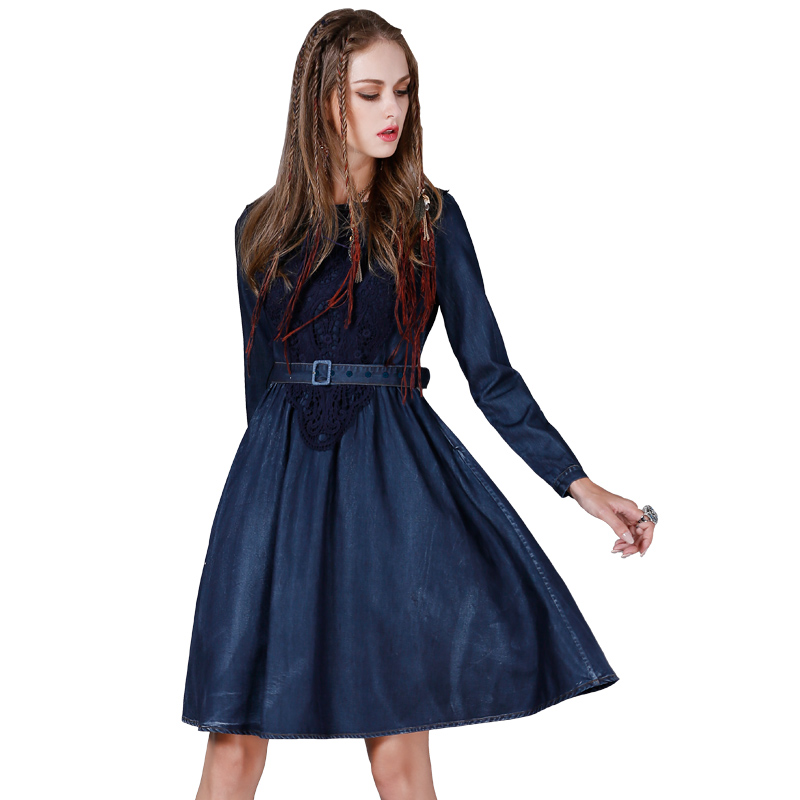 LYFZOUS Vintage bleu gothique Style robe en Denim avec ceinture dentelle o-cou à manches longues robe pour les femmes automne hiver Vestidos