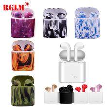 RGLM i7s TWS MINI รูปวาดสีหูฟังบลูทูธไร้สายหูฟังสเตอริโอหูฟังสำหรับ iPhone Android