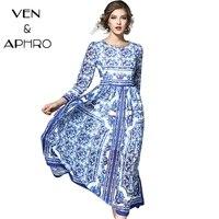 VA 2017 Women Maxi Long Blue White Porcelain Print Dress Plus Size Silk Elegant Fashion Beach
