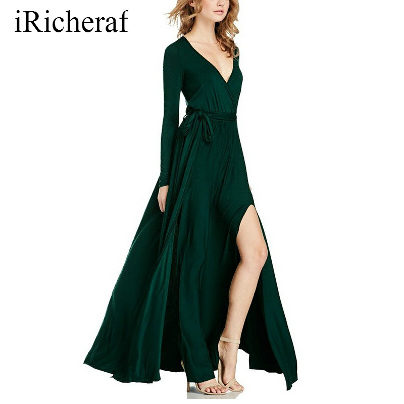 Long Party Dress For Women V neck Solid Slim Waist Long Sleeve Maxi Dresses Autumn Vestidos