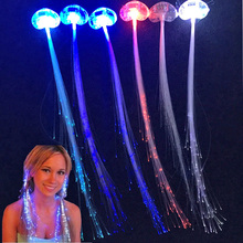 30pcs/lot Wholesale Hair Clip New Light-Up Flashing Barrette Fiber Optic Assorted LED Headwear for Party Girl Dress