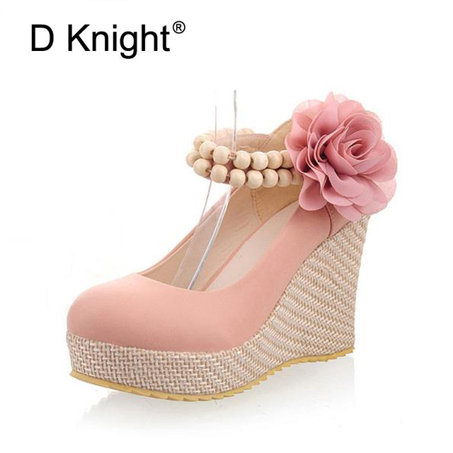 New Fashion Flower Ankle Strap Platform Wedges Elegant Ladies High Heels Wedge Wedding Shoes