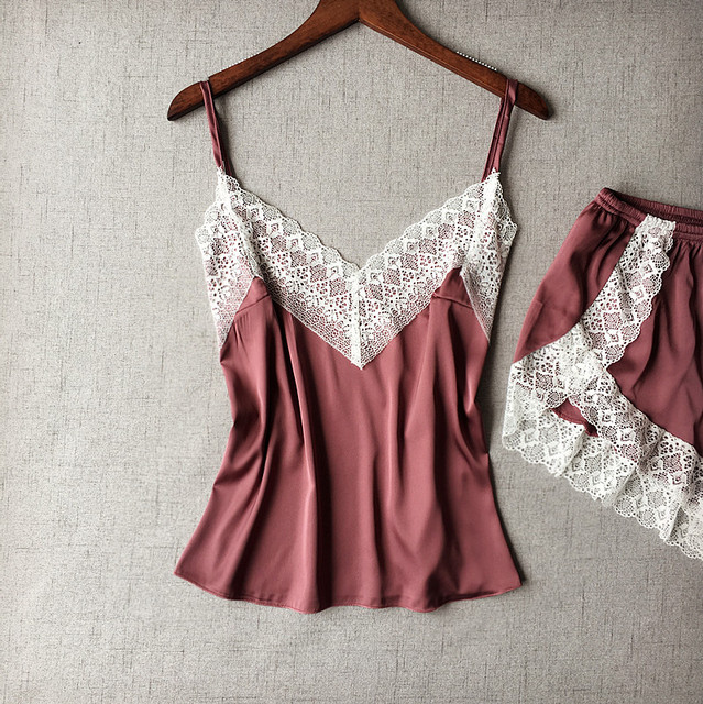 Women's Sleepwear Sexy Satin Pajama Set White Lace V-Neck Pyjamas Sleeveless Cute Cami Top and Shorts 3