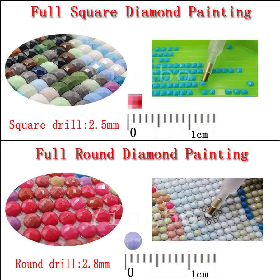 5 pièces/ensemble, 3d bricolage plein carré rond diamant peinture avion paysage point de croix, 5D diamant broderie mosaïque autocollants décor