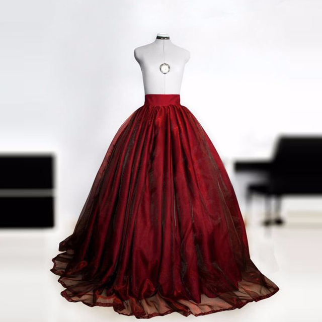 Dramatic Ball Gown Wedding Dresses: Dramatic Burgundy Long Skirts Womens Super Puff Organza
