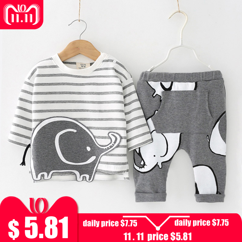 цена на LZH Newborn Clothes 2018 Autumn Winter Baby Boys Clothes Set T-shirt+Pants 2pcs Outfits Suit Kids Baby Girls Set Infant Clothing