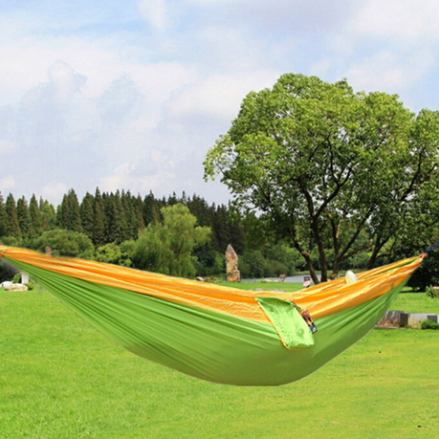 Camping Leisure Swing Chair One Person Hammock Furniture Color Garden Nylon  Fabric Hammock With Strong Rope
