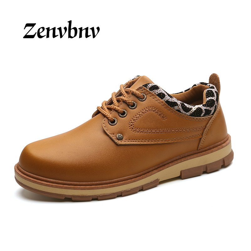 ZENVBNV 2017 Casual Shoes Men Winter Autumn Waterproof Solid Lace-up Man Fashion Flat With Brown black blue Genuine Leather Shoe front lace up casual ankle boots autumn vintage brown new booties flat genuine leather suede shoes round toe fall female fashion