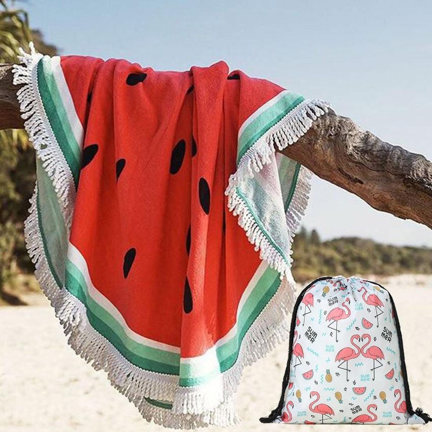 Toalha de praia redonda do verão da melancia com saco de armazenamento do cordão toalhas de banho do chuveiro dos esportes esteira da ioga com borlas toalla playa