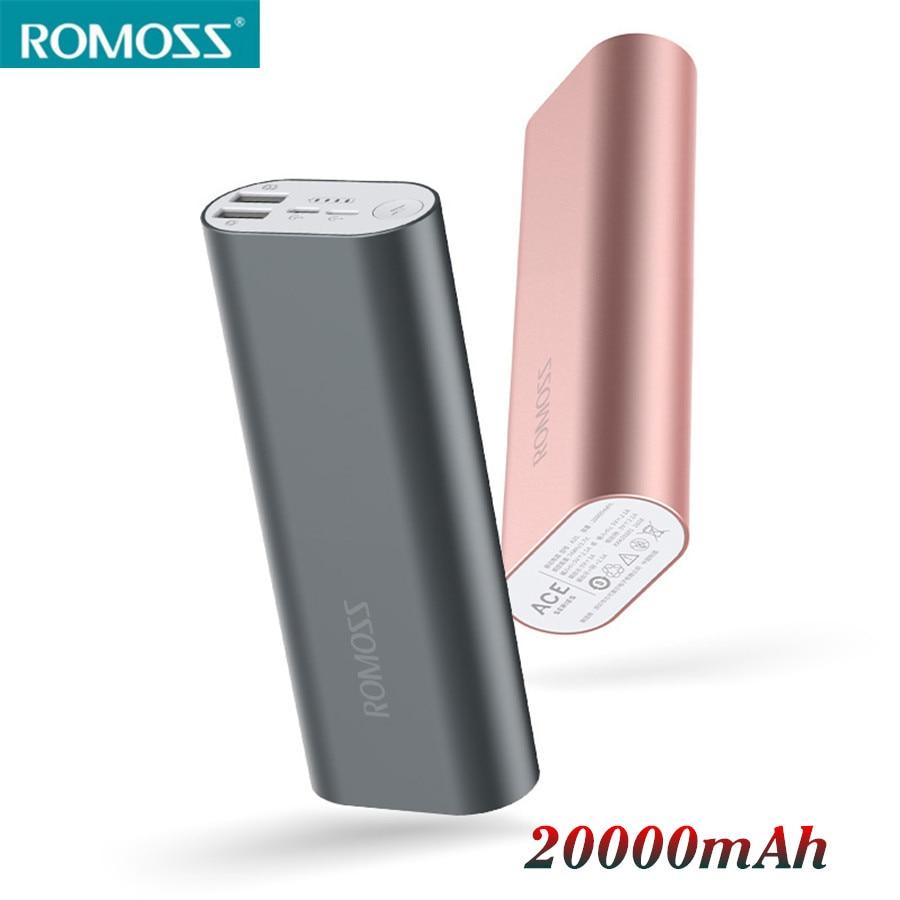 Цена за Оригинал ROMOSS ACE20 Power Bank 20000 мАч Внешний Аккумулятор Pover Банк Poverbank Для iphone 6 6s 7 Плюс Samsung Смартфон