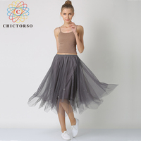 Chictorso Fashion Sexy Long Beading Mesh Skirt Pleated Midi Tulle Skirts Korean Boho Women Elegant High