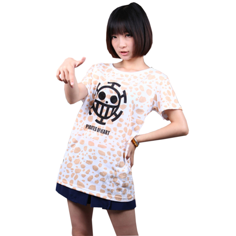 Brdwn ONE PIECE unisex Trafalgar Law cosplay T shirt Smile speckle Short sleeve Summer Tee 100 Cotton in Anime Costumes from Novelty Special Use