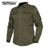 TACVASEN Spring Men Military Style Shirt Autumn Slim Long Sleeve Shirt Tactical Cotton Clothes Men Camouflage