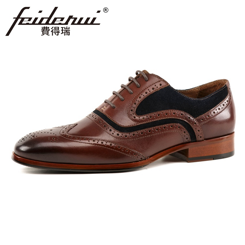 New Vintage Genuine Leather Men's Handmade Carved Oxfords Pointed Toe Wingtip Man Formal Dress Wedding Party Brogue Shoes KUD242 love in the time of fridges