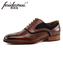 New Vintage Genuine Leather Men's Handmade Carved Oxfords Pointed Toe Wingtip Man Formal Dress Wedding Party Brogue Shoes KUD242