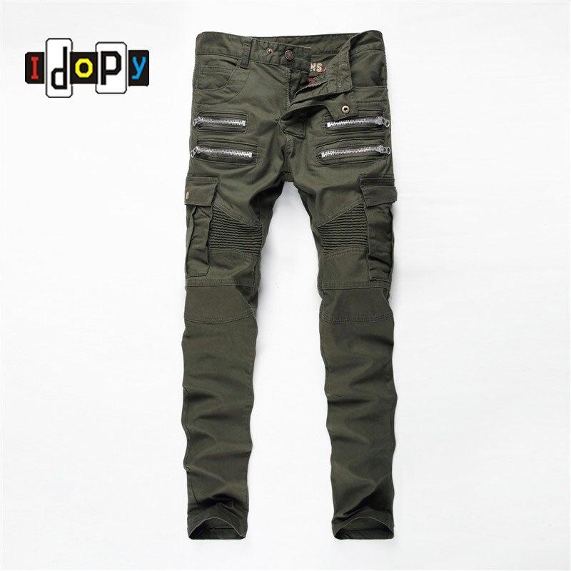 ФОТО Hi Street Mens Cargo Jeans Mulit Pockets Zippers Hip Hop Skinny Elastic Brand Designer Army Style Biker Motorcycle Denim Pants