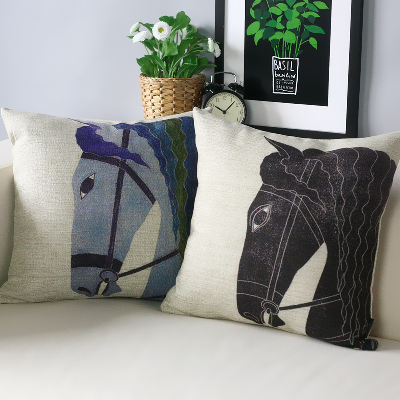 modern babylon horse classic head pillow cover cushion linen cotton sofa car office home decoration waist - Horses Head Pillow